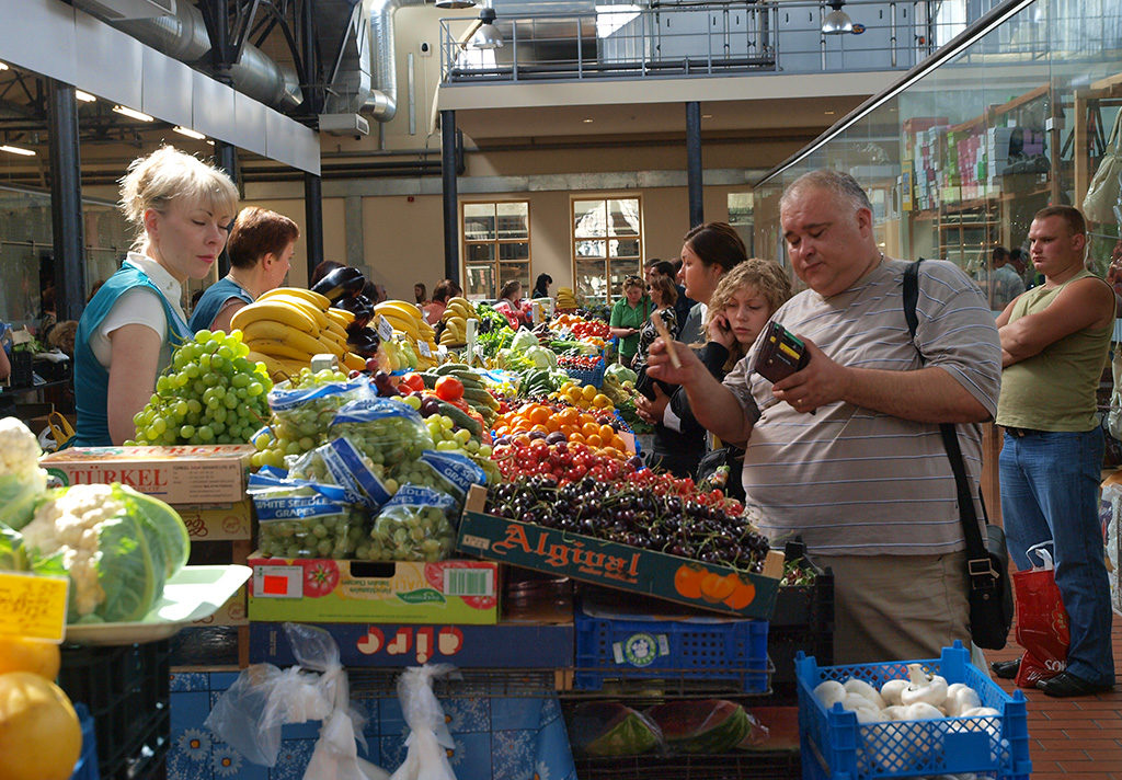 Halės Turgus, covered market in Vilnius, Lithuania